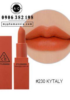 Son 3CE Lip Color Matte #230 Kytaly – Cam Đỏ Đất
