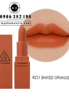 Son 3CE Lip Color Matte #231 Baked Orange – Cam cháy pha nâu