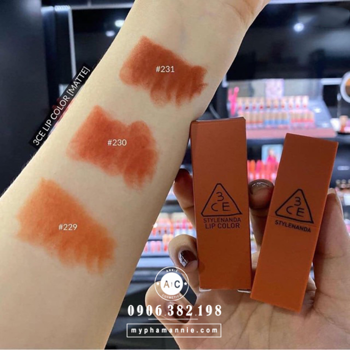 Son 3CE Lip Color Matte #231 Baked Orange – Cam cháy pha nâu
