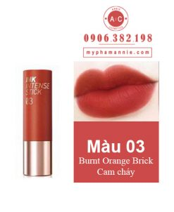 Son Thỏi Peripera Ink Velvet Intense Stick màu 03 Burnt Orange Brick – Cam cháy