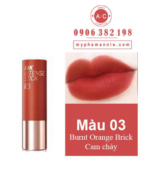 Son Thỏi Peripera Ink Velvet Intense Stick màu 03 Burnt Orange Brick – Cam cháy