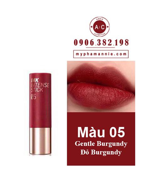 Son Thỏi Peripera Ink Velvet Intense Stick màu 05 Gentle Burgundy – Đỏ burgundy