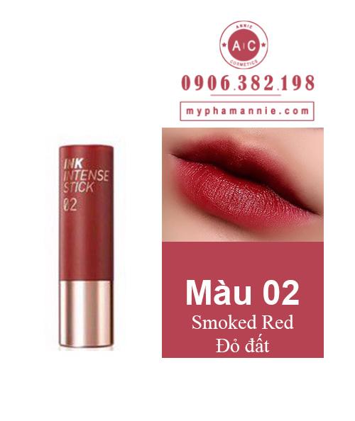 Son Thỏi Peripera Ink Velvet Intense Stick màu 02 Smoked Red – Đỏ đất