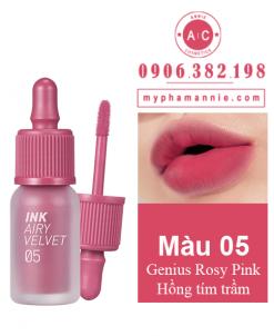 Son kem lì Peripera Ink Airy Velvet Tint màu 05 Genius Rosy Pink – Hồng tím trầm