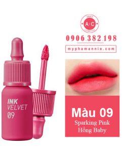 Son kem lì Peripera Ink Velvet Tint 2019 màu 09 Sparking Pink