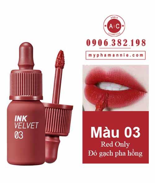 Son kem lì Peripera Ink Velvet Tint 2019 màu 03 Red Only – Đỏ gạch pha hồng