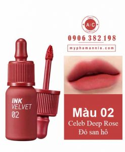 Son kem lì Peripera Ink Velvet Tint 2019 màu 02 Celeb Deep Rose – Đỏ san hô