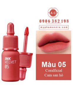 Son kem lì Peripera Ink Velvet Tint 2019 màu 05 Coralficial – Cam san hô